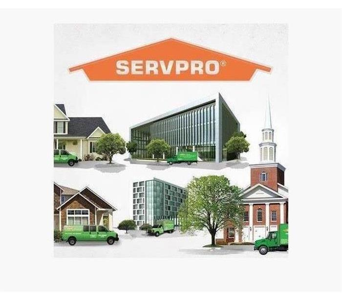 Graphic with images of different commercial properties with a SERVPRO logo at the top.