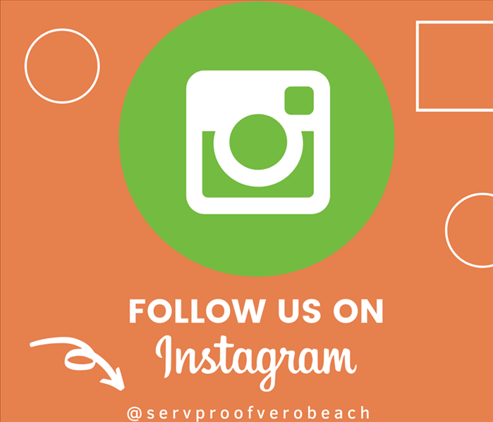 Green Instagram Icon placed on orange background with our handle @servproverobeach