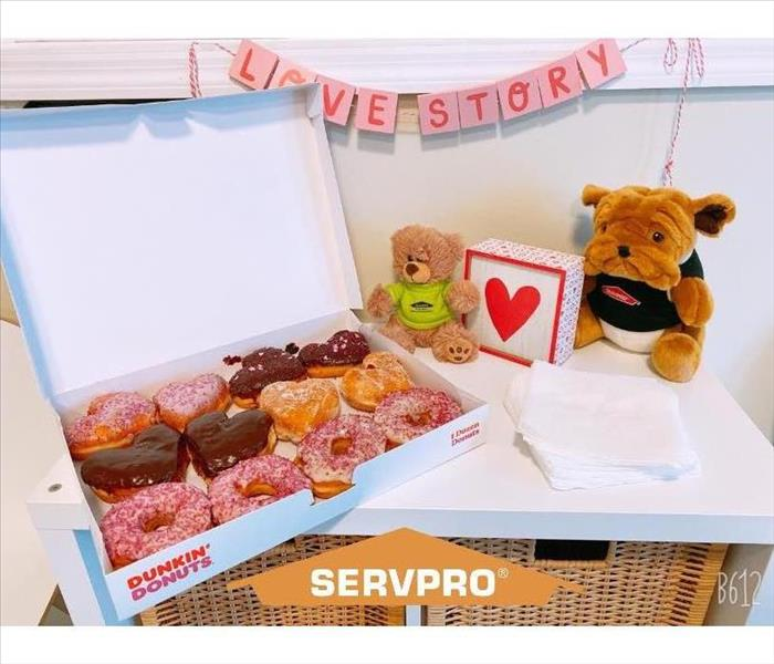 Bulldog Plushie in SERVPRO shirt next to a box of heart shaped donuts