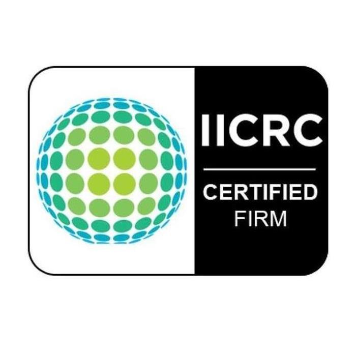 "IICRC logo with text on the bottom that says ""IICRC CERTIFIED"" in black and white."