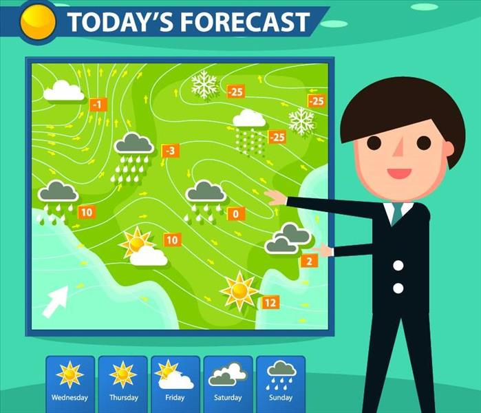 Cartoonish picture of brown hair man in black suit standing in front of green screen showing the weather forecast